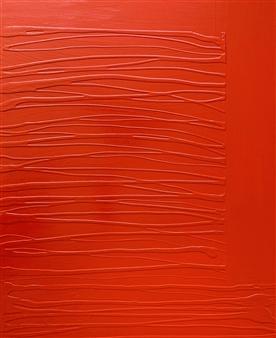 Natalia Gaviria - Red Traversa Latex & Acrylic on Canvas, Paintings