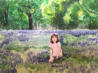 Nancy Holleran - Portrait of a Child in Bluebonnet Field Giclee Print, Prints