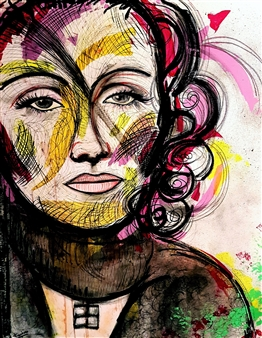 Franck Sastre - Marlene Dietrich Mixed Media on Canvas, Mixed Media