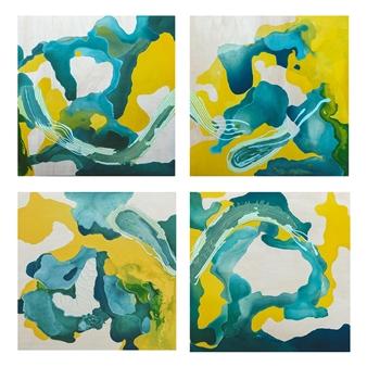 Orianna Montenegro - Mellow Paraiso Acrylic & Ink on Board, Paintings