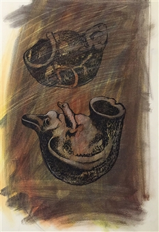 Manuel Riquelme Loyola - Pitren Pastel on Paper, Paintings
