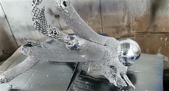 Javier Rivas - Saltamontes Wood, Steel & Chrome, Sculpture