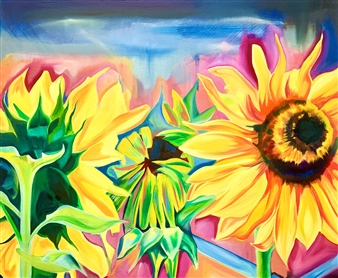 Ruth Egon - Dance in the Sun Oil on Canvas, Paintings