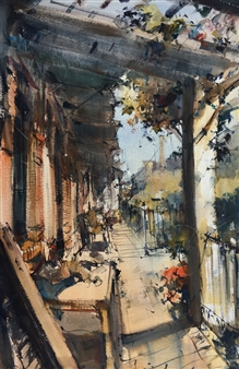 Alejandro Miras - En el Porche Watercolor, Paintings