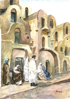Amani Elbayoumi - Tunisian Village Watercolor on Paper, Paintings