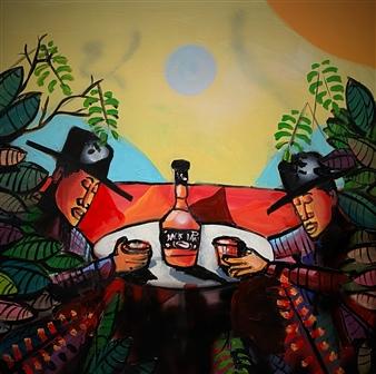 Erik Neimeijer - Whiskey River Acrylic & Airbrush on Linen, Paintings