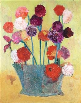 Pauline Rakis - Pom Poms Acrylic on Canvas, Paintings