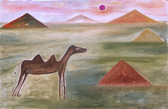 Merab Kardava - Camel and Burn Oil on Canvas, Paintings