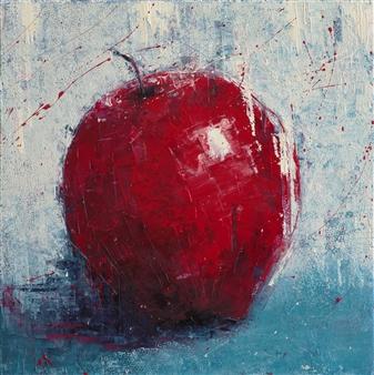 Olena Bogatska - Red Apple Oil on Canvas, Paintings