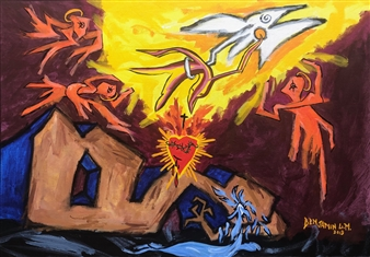 Benjamin L.M. - The Spirit Of Love Rescues Us From Sadness & Pain Acrylic & Oil Stick on Canvas, Paintings