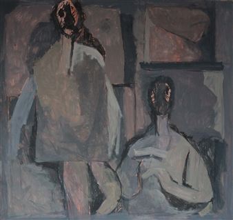 Khac Cuong Le - Two Men Oil and Gouache on Canvas, Paintings