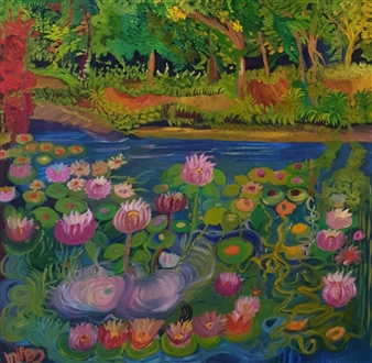 Mira Seeman - Water Flower Oil on Canvas, Paintings