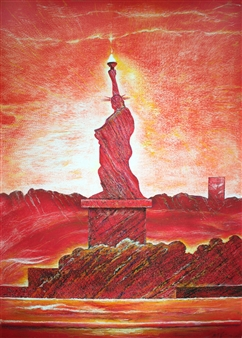 Michael Victor ▪ MVR - The Landscape of 21C Lady Liberty_ For the Reds to Yellows (triptych) Hard Pastels with Multi-media, Prints