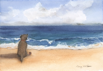 Nancy Holleran - Dog Enjoying the View Watercolor on Paper, Paintings
