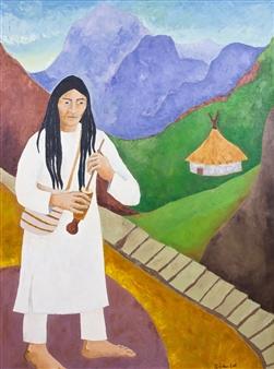 Marliese Scheller - Village Kogi Oil on Masonite, Paintings