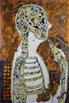Hugo Ximello-Salido - Pensando Acrylic & Ink on Canvas, Paintings