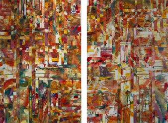 Maggie G. Moran - Tape Diptych Mixed Media on Canvas, Mixed Media