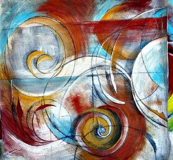 Luisa Vicente Isola - Circulos II Acrylic on Canvas, Paintings