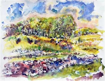 James Chisholm - Cross Street Cornfield Watercolor on Paper, Paintings