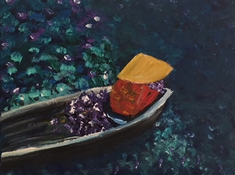 Karen Kanas - Woman in Boat Acrylic on Canvas, Paintings