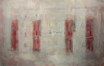 Miguel Lopez - 4 Windows in Red Acrylic, Oil & Pastel on Canvas, Paintings