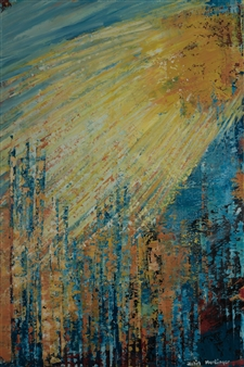 Zvia Merdinger - Sun Mixed Media on Canvas, Mixed Media