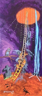 Benjamin L.M. - Homage To Imagine Peace Tower And The Sky Ladder Acrylic on Canvas, Paintings