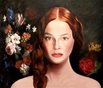 Mehrnosh Kaecker - The Girl with Flowers Oil on Paper, Paintings