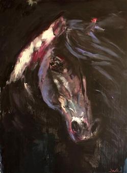 Dede Schuhmacher - Black Stallion Oil on Canvas, Paintings