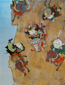 Akinori Ohtsuka - Surprise Attack Mixed Media on Japanese Paper, Mixed Media