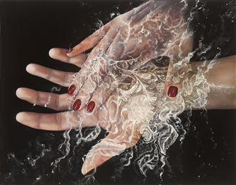 Stacie Hernandez - The Palmist Oil & Paper on Wood, Paintings