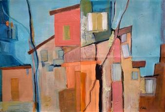 Pauline Rakis - The Neighborhood Acrylic on Canvas, Paintings