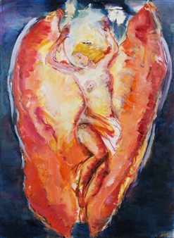Dede Schuhmacher - Archangel Uriel Oil on Canvas, Paintings