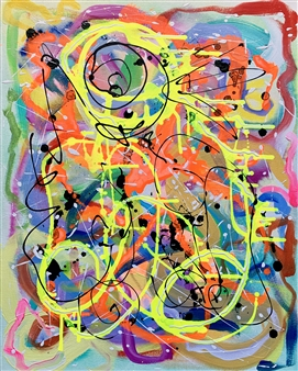 Russell Jacobs - Untitled 11 - Big Green Series Acrylic on Canvas, Paintings