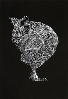 Maria Antonia Mena Lagos - Elegant Rooster Dry-Point on Cotton Paper, Prints