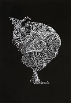 Maria Antonia Mena Lagos - Elegant Rooster Dry-Point on Cotton Paper, Prints