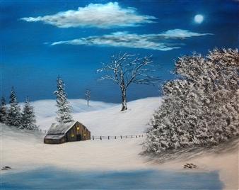 Hezekiah Baker Jr. - Moonlit Sky Acrylic & Oil on Canvas, Paintings