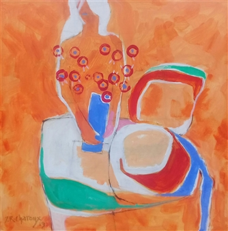 J. Roger Charoux - Femme au Bouquet Acrylic & Oil on Canvas, Paintings