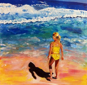 Marlene Kurland - Beach Girl in Yellow Oil on Canvas, Paintings