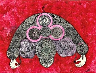 Pitanius - Haku (Hug) Acrylic & Ink on Paper, Paintings