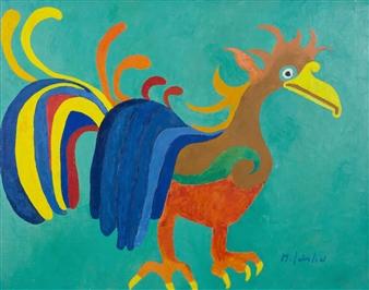 Marliese Scheller - Oiseau Azteque Oil on Masonite, Paintings