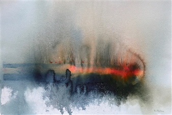 Rine Philbin - Ice on the Lake Watercolor on Paper, Paintings
