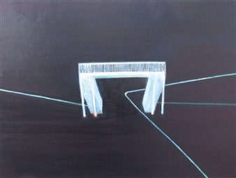 Akihito Izumi - Pedestrian Bridge Oil on Canvas, Paintings