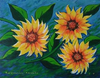 Konka - Be The Sunflower Acrylic on Canvas, Paintings