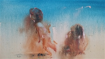 Fiz Dominguez - Playing at the Beach Oil on Canvas, Paintings