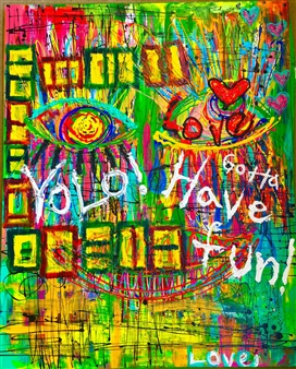 Miho Nishibe - I Love You Acrylic & Oil on Canvas, Paintings