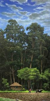 Mauricio Valdiviezo - Arando con Toros Oil on Canvas, Paintings