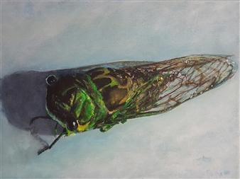 Jonathan Mann - Cicada #2 Acrylic on Canvas, Paintings