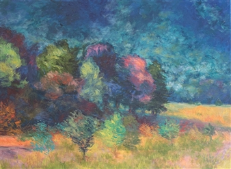 Margaret Adams - Sunrise Over Bloomsberry Hill Oil on Canvas, Paintings
