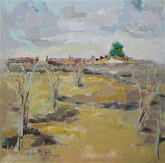 Becky Sungja Kim - Field in Virginia Oil on Linen, Paintings